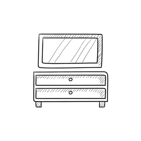 chest of drawers: Chest of drawers with mirror vector sketch icon isolated on background. Hand drawn Chest of drawers with mirror icon. Chest of drawers with mirror sketch icon for infographic, website or app. Illustration