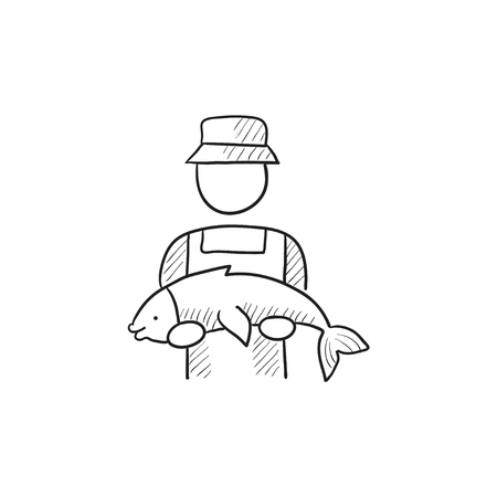 big fish: Fisherman with big fish vector sketch icon isolated on background. Hand drawn Fisherman with big fish icon. Fisherman with big fish sketch icon for infographic, website or app. Illustration