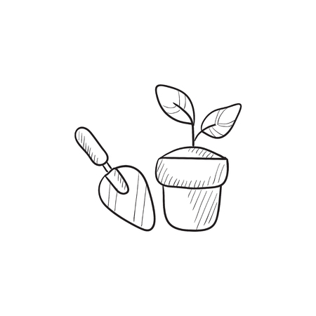 agricultura: Garden trowel and pot with plant vector sketch icon isolated on background. Hand drawn Garden trowel and pot with plant icon. Trowel and pot with plant sketch icon for infographic, website or app.