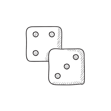 Dice vector sketch icon isolated on background. Hand drawn Dice icon. Dice sketch icon for infographic, website or app. Illustration