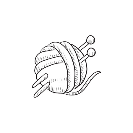 threads: Threads for knitting with spokes vector sketch icon isolated on background. Hand drawn Threads for knitting with spokes icon. Knitting sketch icon for infographic, website or app.