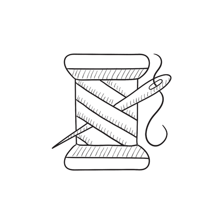 hank: Spool of thread and needle vector sketch icon isolated on background. Hand drawn Spool of thread and needle icon. Spool of thread and needle sketch icon for infographic, website or app.