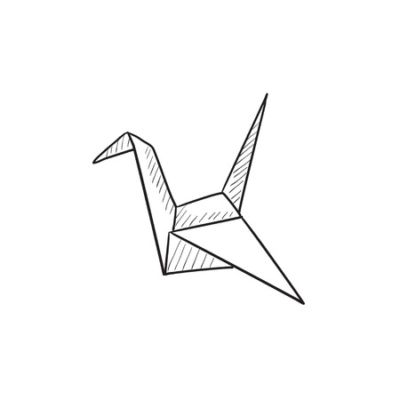 workmanship: Origami bird vector sketch icon isolated on background. Hand drawn Origami bird icon. Origami bird sketch icon for infographic, website or app. Illustration
