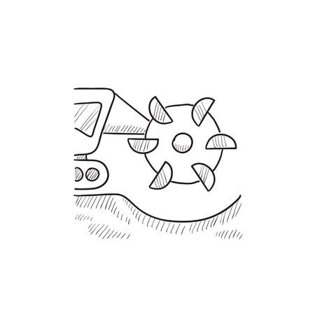 Coal machine with rotating cutting drum vector sketch icon isolated on background. Hand drawn Coal machine with rotating cutting drum icon. Coal machine sketch icon for infographic, website or app. Illustration
