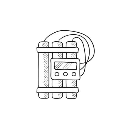 dinamita: icono de vector de dinamita y detonadores boceto aislado en el fondo. Dibujado a mano de la dinamita y el icono del detonador. Dinamita y detonadores boceto icono de infografía, sitio web o aplicación.
