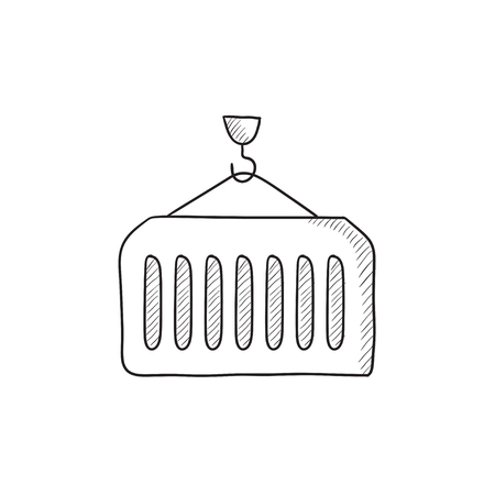 heavy industry: Cargo container vector sketch icon isolated on background. Hand drawn Cargo container icon. Cargo container sketch icon for infographic, website or app. Illustration