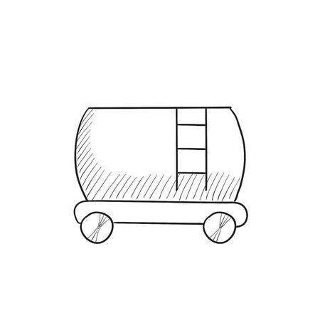 cistern: Railway cistern  vector sketch icon isolated on background. Hand drawn Railway cistern  icon. Railway cistern  sketch icon for infographic, website or app.