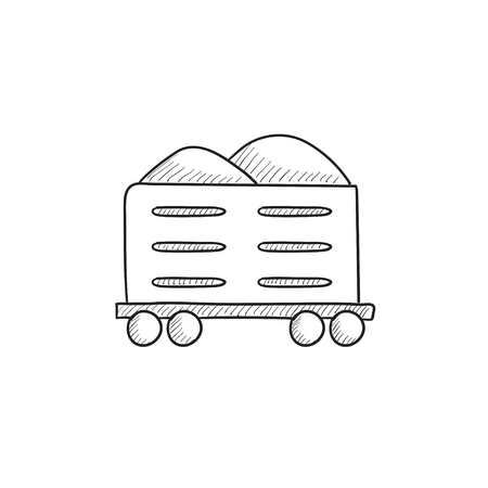hand rails: Cargo wagon vector sketch icon isolated on background. Hand drawn Cargo wagon icon. Cargo wagon sketch icon for infographic, website or app.