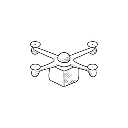 delivering: Drone delivering package vector sketch icon isolated on background. Hand drawn Drone delivering package icon. Drone delivering package sketch icon for infographic, website or app.