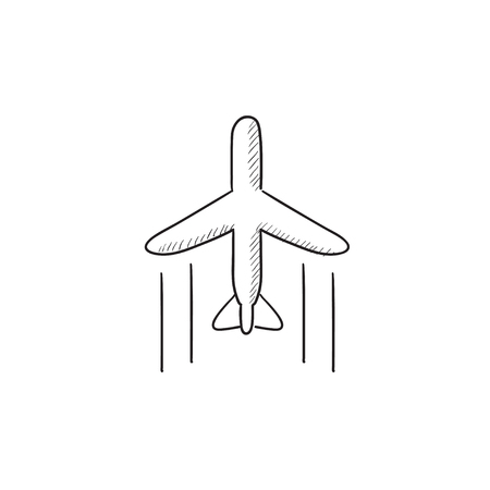 freighter: Cargo plane vector sketch icon isolated on background. Hand drawn Cargo plane icon. Cargo plane sketch icon for infographic, website or app.