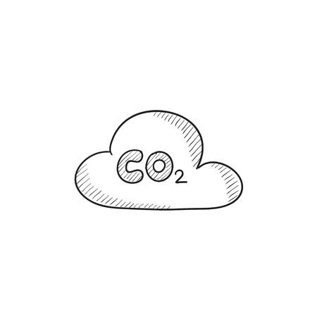 구름에 CO2 기호 배경에 고립 된 벡터 스케치 아이콘입니다. 손으로 그린 된 CO2 기호 구름 아이콘입니다. infographic, 웹 사이트 또는 응용 프로그램에 일러스트