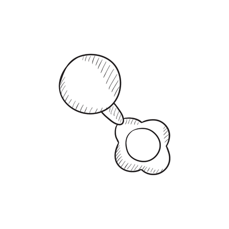 beanbag: Baby rattle vector sketch icon isolated on background. Hand drawn Baby rattle icon. Baby rattle sketch icon for infographic, website or app.
