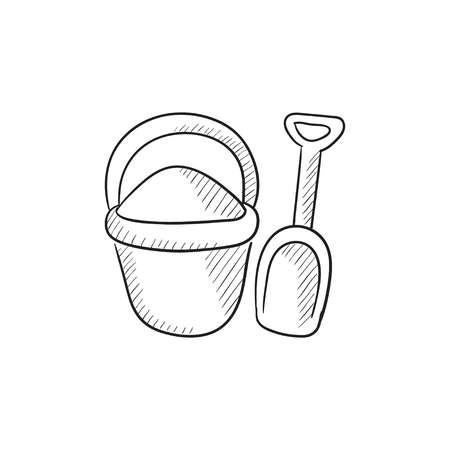 bucket and spade: Bucket and spade for children vector sketch icon isolated on background. Hand drawn Bucket and spade for children icon. Bucket and spade for children sketch icon for infographic, website or app. Illustration