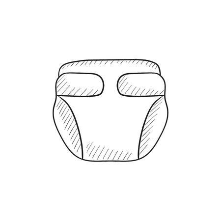 Baby-Windel Vektor Skizze Symbol auf Hintergrund isoliert. Hand-Baby-Windel-Symbol gezogen. Baby-Windel Skizze Symbol für Infografik, die Website oder App.