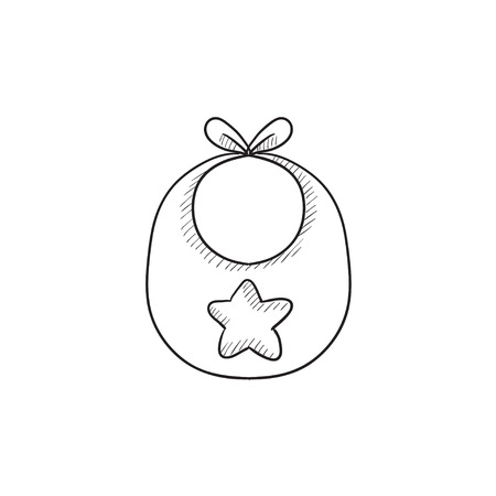 accessory: Baby bib vector sketch icon isolated on background. Hand drawn Baby bib icon. Baby bib sketch icon for infographic, website or app.