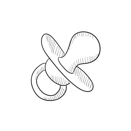 Baby-Schnuller Vektor-Skizze-Symbol auf Hintergrund isoliert. Hand Baby-Schnuller-Symbol gezogen. Baby-Schnuller Skizze Symbol für Infografik, die Website oder App.
