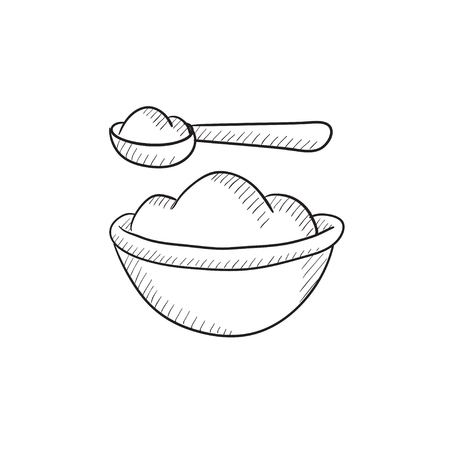Baby spoon and bowl full of meal vector sketch icon isolated on background. Hand drawn Baby spoon and bowl full of meal icon. Baby spoon and bowl sketch icon for infographic, website or app. Çizim