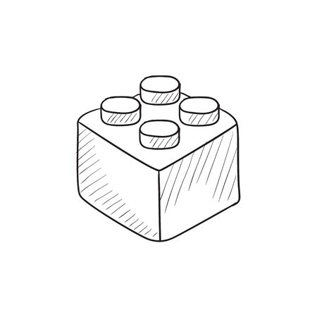 building sketch: Building block vector sketch icon isolated on background. Hand drawn Building block icon. Building block sketch icon for infographic, website or app.