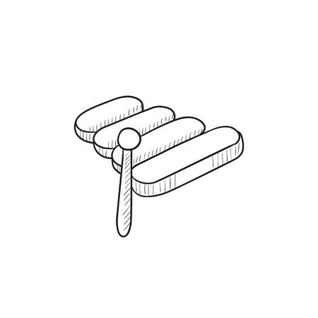木琴ベクター スケッチ アイコンを背景に分離します。手描きの木琴のアイコン。インフォ グラフィック、web サイトまたはアプリケーションの木琴