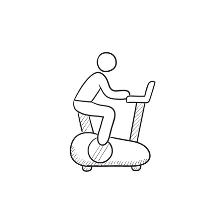 Man training on exercise bike vector sketch icon isolated on background. Hand drawn Man training on exercise bike icon. Man training on exercise bike sketch icon for infographic, website or app.