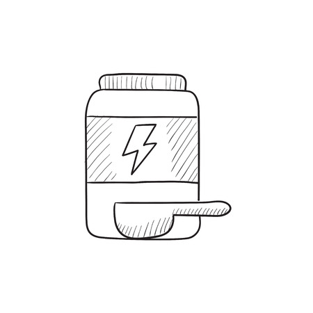 supplementation: Sport nutrition container vector sketch icon isolated on background. Hand drawn Sport nutrition container icon. Sport nutrition container sketch icon for infographic, website or app. Illustration