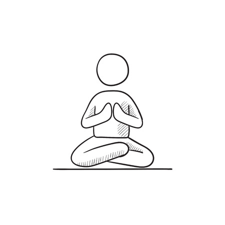 A man meditating in lotus pose vector sketch icon isolated on background. Hand drawn man meditating in lotus pose icon. Man meditating in lotus pose sketch icon for infographic, website or app. Illustration