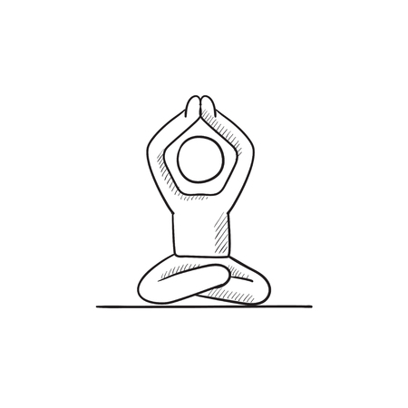 A man meditating in lotus pose vector sketch icon isolated on background. Hand drawn man meditating in lotus pose icon. Man meditating in lotus pose sketch icon for infographic, website or app. Stock Illustratie