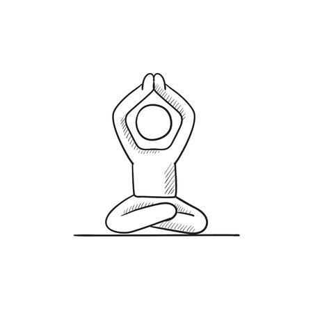 Un homme à méditer dans lotus pose vecteur icône croquis isolé sur fond. Main homme dessiné à méditer dans lotus pose icône. Man méditer dans lotus pose icône esquisse pour infographie, site Web ou application. Banque d'images - 57760179