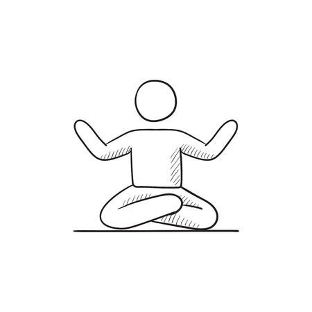 elasticity: Un hombre meditando en posición de loto dibujo icono del vector aislado en el fondo. Dibujado mano del hombre meditando en posición de loto icono. Hombre meditando en posición de loto dibujo icono de infografía, sitio web o aplicación. Vectores