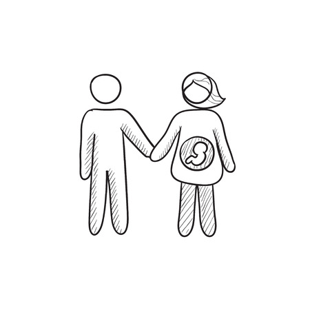wife: Husband with pregnant wife vector sketch icon isolated on background. Hand drawn Husband with pregnant wife icon. Husband with pregnant wife sketch icon for infographic, website or app.