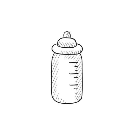nursing bottle: Feeding bottle vector sketch icon isolated on background. Hand drawn Feeding bottle icon. Feeding bottle sketch icon for infographic, website or app.