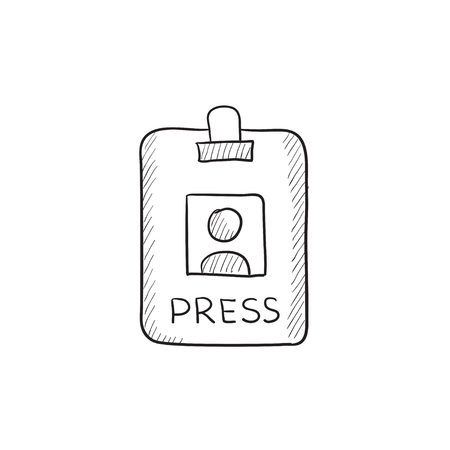 neckband: Press pass ID card vector sketch icon isolated on background. Hand drawn Press pass ID card icon. Press pass ID card sketch icon for infographic, website or app.