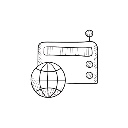 retro radio: Retro radio vector sketch icon isolated on background. Hand drawn Retro radio icon. Retro radio sketch icon for infographic, website or app. Illustration