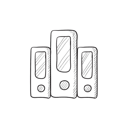 row: Row of folders vector sketch icon isolated on background. Hand drawn Row of folders icon. Row of folders sketch icon for infographic, website or app.
