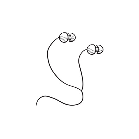 earphone: Earphone vector sketch icon isolated on background. Hand drawn Earphone icon. Earphone sketch icon for infographic, website or app. Illustration