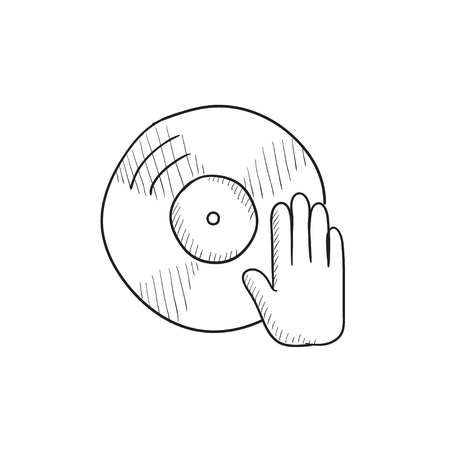 remix: Disc with dj hand vector sketch icon isolated on background. Hand drawn Disc with dj hand icon. Disc with dj hand sketch icon for infographic, website or app.