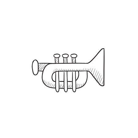 trumpet isolated: Trumpet vector sketch icon isolated on background. Hand drawn Trumpet icon. Trumpet sketch icon for infographic, website or app.