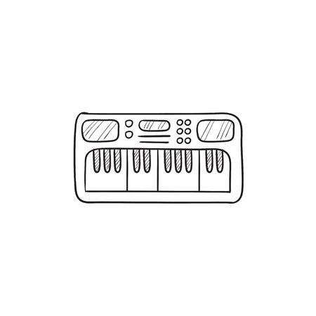 synthesizer: Synthesizer vector sketch icon isolated on background. Hand drawn Synthesizer icon. Synthesizer sketch icon for infographic, website or app.