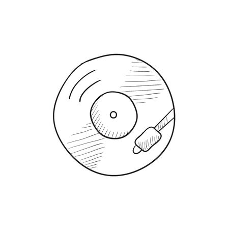 vinyl disk player: Turntable vector sketch icon isolated on background. Hand drawn Turntable icon. Turntable sketch icon for infographic, website or app.