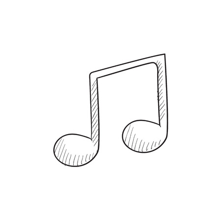 Music note vector sketch icon isolated on background. Hand drawn Music note icon. Music note sketch icon for infographic, website or app.