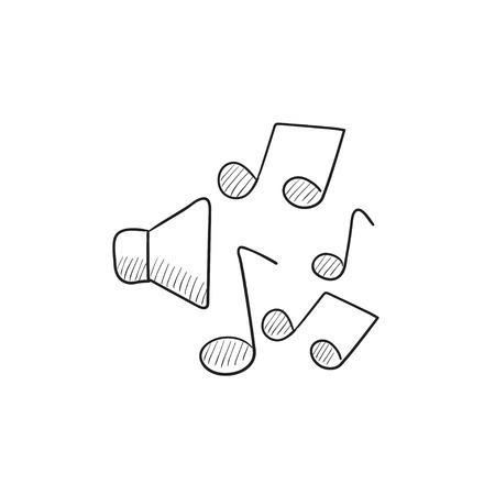 sub woofer: Loudspeakers with music notes vector sketch icon isolated on background. Hand drawn Loudspeakers with music notes icon. Loudspeakers with music notes sketch icon for infographic, website or app.