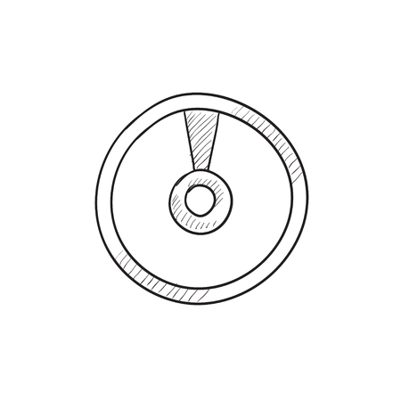 grooves: Disc vector sketch icon isolated on background. Hand drawn Disc icon. Disc sketch icon for infographic, website or app. Illustration
