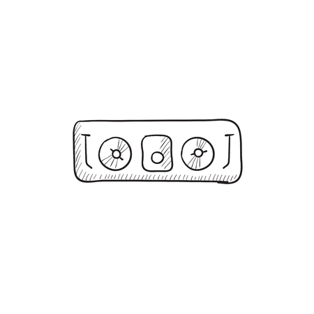 remix: DJ console vector sketch icon isolated on background. Hand drawn DJ console icon. DJ console sketch icon for infographic, website or app. Illustration