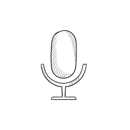Icône de croquis de vecteur micro rétro isolé sur fond. Icône de microphone Retro dessinés à la main. Icône de croquis de microphone rétro pour infographie, site Web ou application. Banque d'images - 57888145