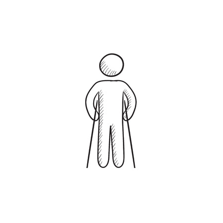 Man with crutches vector sketch icon isolated on background. Hand drawn Man with crutches icon. Man with crutches sketch icon for infographic, website or app.