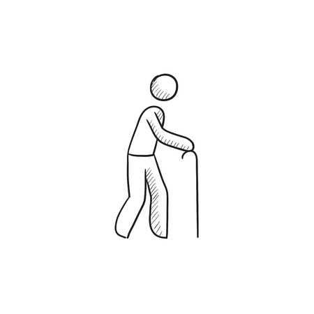 gerontology: Man with cane vector sketch icon isolated on background. Hand drawn Man with cane icon. Man with cane sketch icon for infographic, website or app. Illustration