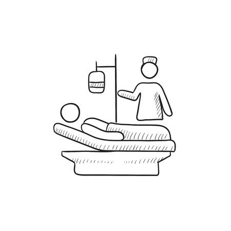 간호 벡터 스케치 아이콘 배경에 고립. 손으로 그린 간호 아이콘입니다. 인포 그래픽, 웹 사이트 또는 앱의 간호 스케치 아이콘.