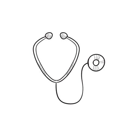 Stethoscope vector sketch icon isolated on background. Hand drawn Stethoscope icon. Stethoscope sketch icon for infographic, website or app. 向量圖像
