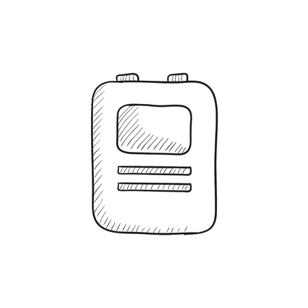 Heart defibrillator vector sketch icon isolated on background. Hand drawn Heart defibrillator icon. Heart defibrillator sketch icon for infographic, website or app. Illustration