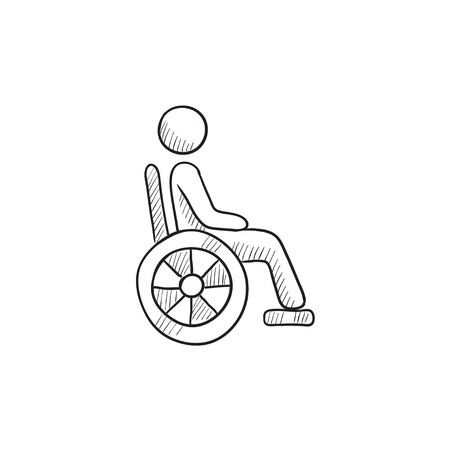 Disabled person vector sketch icon isolated on background. Hand drawn Disabled person icon. Disabled person sketch icon for infographic, website or app. Vetores